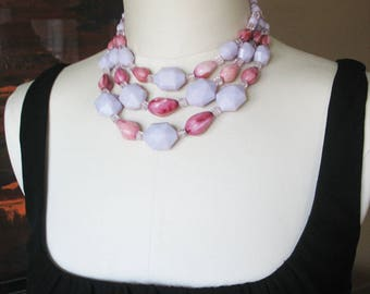 Statement Necklace, Purple, Triple Strand, Lavender, Plum, West Germany, 1950s, Beaded Necklace, Lucite, Faceted, Vintage