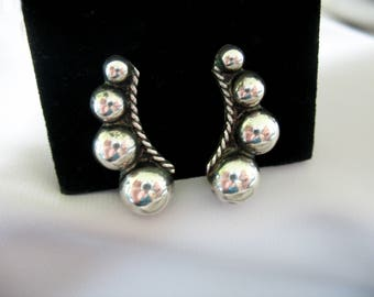 Silver Curved Ball Earrings, Mexico, Curved Design, Screwbacks, 1940's, Darkened Patina, Graduated Balls