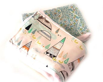 SALE Tepee Burp Cloths, Blue Orange Gray Boy Burp Cloth - Diaper Burp Cloth set of 2 // Adventure Boho Nursery Theme / Baby Shower Gift