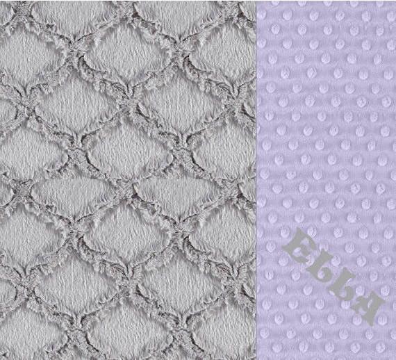 Kids Minky Blanket, Crib Bedding, Minky Baby Blanket Girl, Personalized Baby Blanket, Lavender Blanket, Geometric Blanket, Baby Gift
