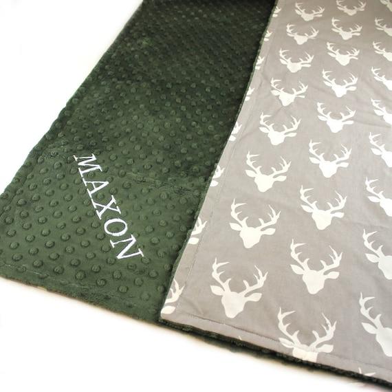 Deer Minky Baby Blanket Cotton / Personalized Baby Blanket Boy / Monogrammed Blanket // Baby Gift / Baby Shower Gift / Receiving Blanket