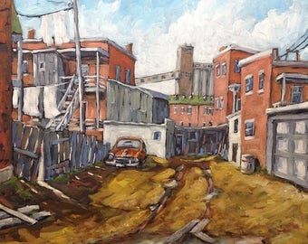 On Sale Back Alley Montreal - Original Oil painting - Montreal Urban Scene created  by Prankearts