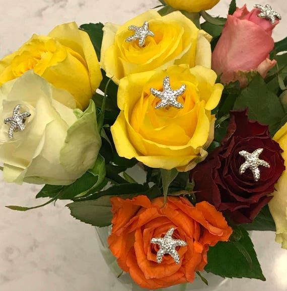 Beach Wedding 6 Silver Starfish Bouquet Picks Centerpieces Boutonnieres Flower Picks Floral Pins Flower Posts Bridal Flowers