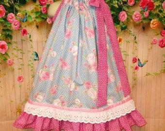 Girl Dress 4T/5 Blue Pink Flower Dots Pillowcase Dress Pillow Case Dress Sundress