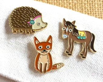 Cute Critters Gift Set - Set of Three Enamel Pins - Animal Lover - Cute Gift - Party Favor - Stocking Stuffer - B1115
