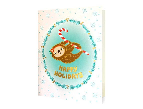 sloth gold foil christmas cards box of 8 foil stamped holiday
