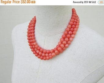 Memorial Day SALE Coral Beaded Triple Strand Necklace , Peach Multi Strand Beads