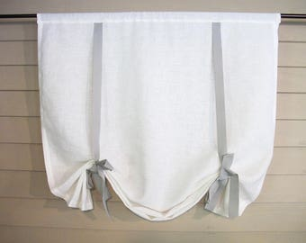 White Linen Shade with Gray Grosgrain Ribbon Ties 48 Inch Long Swedish Roll Up Window Shade Modern Farmhouse Simple Tie Up Curtain
