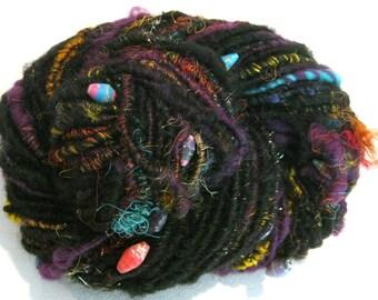Bulky Handspun yarn Art Rage 92 yards black beaded yarn sari silk sparkle corespun yarn knitting supplies crochet supplies Waldorf doll hair