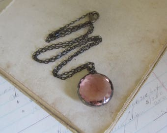 Ice Pink Glass Orb Necklace Stained Glass Jewelry