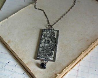 Flower Sepia Illustration Pendant Antique Paper Jewelry