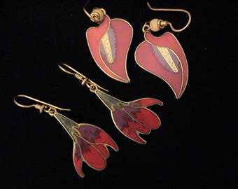 """Vintage LAUREL BURCH Earrings """"Calla Lily"""" and """"Freesia"""""""