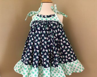 Sundress Navy and Green and white Polka Dot ruffle  Monogram Initial  Like a pillowcase