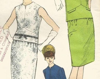 ChristmasinJuly Vintage 60s Vogue 6759 Misses Two Piece Dress with Seam and Ribbon Details Sewing Pattern Size 16 Bust 36