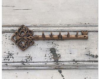 Key Hook - Cast Iron Key - Key Holder - Metal Key Holder - Large Key Rack - Iron Key Rack - Key Storage - Skeleton Key - Key Decor
