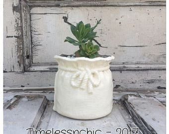 Vintage Planter - Ceramic Planter - White Planter - Succulent Planter - Small Planter - Utensil Holder - Shabby Chic Decor - Planter Pot