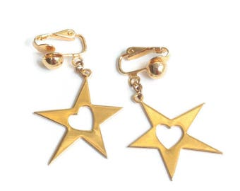 Star Dangle Earrings Heart Cut Out Gold Tone Clip On Vintage