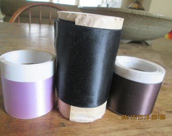 Ribbon, vintage satins/rayon blend.  Purple, brown and black, 3 yds each 1940's