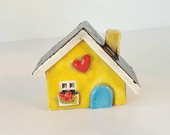 Yellow Little Clay House | Cottage | Ceramic House | Miniature House | Whimsical Fairy House | Hearthome Tiny House