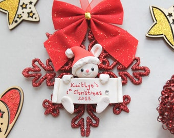 Personalized baby's first Christmas ornament - Bunny, penguin or owl - gift mum to be expecting children newborn kid room decoration