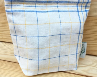 Vintage Linen Sandwich/Snack Bags with Food Safe Liner (1Bag) Blue and Yellow