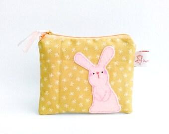 Rabbit coin purse, bunny coin purse, coin purse, coin pouch, school supplies, rabbit pouch, zipper pouch, coin wallet, rabbit purse, pouch