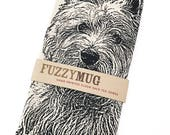 Westie Tea Towel, dish towel in BLACK, West Highland Terrier - Hand Printed Flour Sack Tea Towel