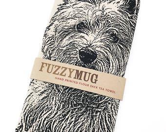 Westie Tea Towel, dish towel in BLACK, West Highland Terrier - Hand Printed Flour Sack Tea Towel
