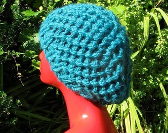 40% OFF SALE Instant digital file pdf download knitting pattern only- Superchunky Simple Lace Tam Slouch Hat pdf download knitting pattern
