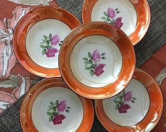 Christmas Sale Vintage Berry Small Bowl Set BAVARIA China Pink Roses Orange Lusterware Porcelain 5 Pieces