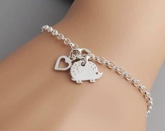 Hedgehog Bracelet - Sterling Silver Hedgehog and Heart Bracelet - hedgehog lover jewellery
