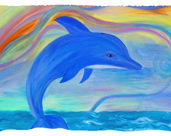 Blue dolphin sea life coastal beach picnic or throw blanket from my original art.