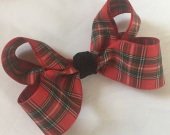 Christmas  red plaid girls hair bow boutique  style