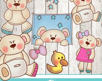Baby bear cliparts - COMMERCIAL USE OK
