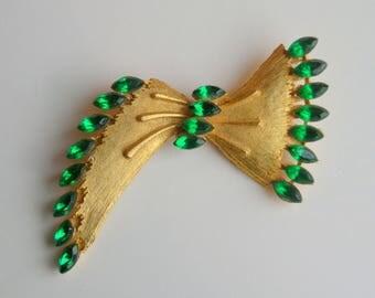 Vintage 50's Bow Emerald Green Brooch