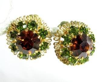 Vintage GREEN BROWN Rhinestone Earrings Clip On Gold Tone Filigree Domed
