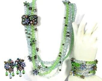 Vintage SWEET ROMANCE FLORAL Necklace Bracelet Earrings Blue Green Swarovski Crystal
