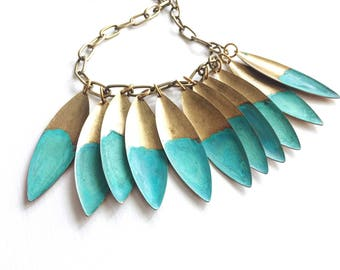 Rising Tide Verdigris Leaf Necklace