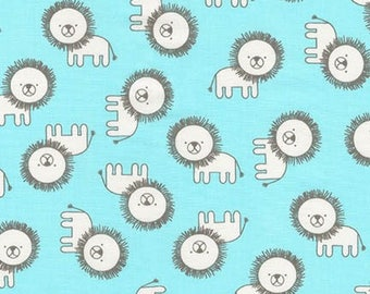 Robert Kaufman Fabric Penned Pals Lions in Aqua by Ann Kelle, Choose your cut