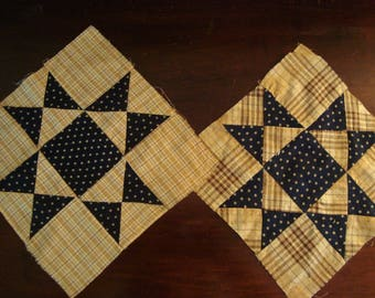 Antique 1920s Handstitched Eight Point Star Quilt Top Blocks - Use for fabric art