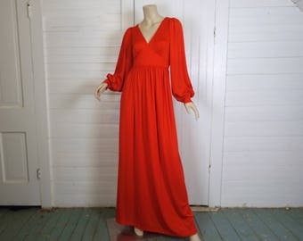 Wuthering Heights Dress- 70s Red Maxi Dress- Renaissance / Hippie - 1970s Studio 54 Disco Formal / Prom- Long Sleeve