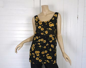 90s Sunflower Blouse- 1990s Chiffon Tank Top- Black & Yellow- Grunge Floral- Sheer- Small- Express