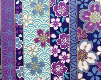 Chiyogami Washi Japanese Paper Sheet 18x24 inches - Purple Flowers