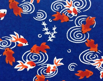 Chiyogami Washi Japanese Paper Sheet 18x24 inches - Orange Goldfish on Blue