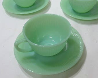 Jane Ray Jadite Cups and Saucer Fire King Ribbed Soft Green