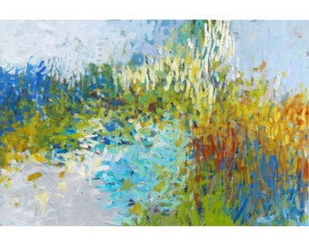 Abstract Impressionist Painting, Large Original 20x30 Landscape Wall Art, Contemporary Interior Design earth tones blue Jessica Torrant
