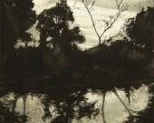 RESERVED for Mary: Reflected Silhouette, matted etching print