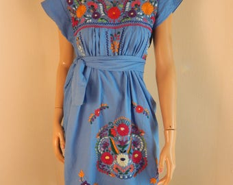 Mexican dress, embroidered dress, altered, new, all cotton