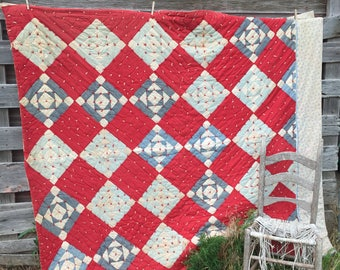 Antique 1920's Heavy Quilt Cotton filled Patchwork Feedsack 80x68 Red and Blue Chambray