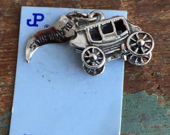 Vintage Sterling 925 Cinderella Carriage Black Hills Charm pendant NOS